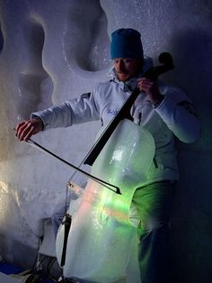 Ice Cello made by Tim Linhart for his Ice Music Project in Lulea, Sweden.