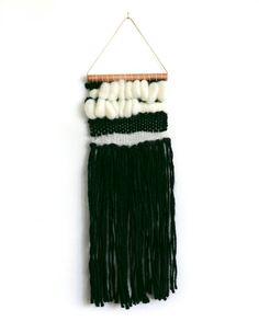 WOVEN WALL HANGING  Black +Natural on copper  - One of a kind- tapestry- hand made w/  love !