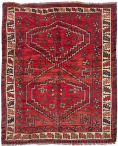 Persian Shiraz-Qashqai x Hand-knotted Wool Red Rug Red Rugs, 5 S, Persian, Bohemian Rug, Wool, Decor, Red Carpets, Decoration, Persian People