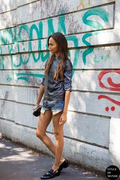 #New on #STYLEDUMONDE  http://www.styledumonde.com/  with #model #modeloffduty #JoanSmalls @joansmalls at #milan #fashionweek #mfw #ss14 #camo #leather #outfit #ootd #streetstyle #streetfashion #streetchic #streetlook #weloveit #fashion #mode #style
