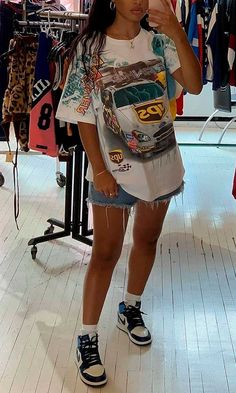 Cute Swag Outfits, Retro Outfits, Mode Outfits, Trendy Outfits, Fashion Outfits, Fashion Styles, Teen Fashion, T Shirt Streetwear, Streetwear Fashion