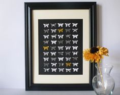 Butterfly Paper Wall Art - Black, White with Pops of Gold, x Paper Wall Art, Butterfly Shape, Off White Color, Paper Design, Card Stock, Art Pieces, Hand Painted, Colours, Shapes