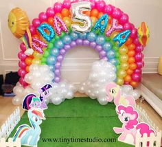 My Little Pony birthday party balloon arch! See more party ideas at CatchMyParty.com!