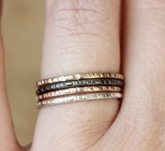 Textured stacking rings ttps://www.etsy.com/listing/180940134/4-stacking-rings-textured-stacking-rings
