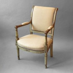 """A Directoire Period Painted Desk Chair or Fauteuil Armchair Ca1800 France. 35""""H x 23""""W x 25""""D."""