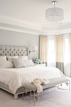 Neutral Colors Master Bedroom Design, Home Decor Bedroom, Bedroom Furniture, Bedroom Curtains, White Curtains, Ikea Bedroom, Furniture Ideas, Master Bedrooms, Neutral Curtains