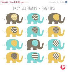 SALE Baby Elephants Clip Art Set / Elephant by igivelove on Etsy Elephant Illustration, Baby Elephants, Aqua, Clip Art, Unique Jewelry, Handmade Gifts, Commercial, Printable, Etsy