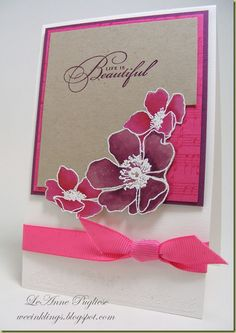 """This is a smaller card than normal; it measures about 3 1/2"""" across; I embossed the flowers in White Craft ink and white embossing powder, then watercolored them with Melon Mambo and Rich Razzleberry ink. I fussy-cut the flowers out around the corner of the Crumb Cake panel, which qualifies this card for this week's Just Add Ink challenge 69 as well! I wheeled the Melon Mambo panel with the Music Notes wheel and although it is difficult to see, I embossed the floral border from Vintage Vogue..."""