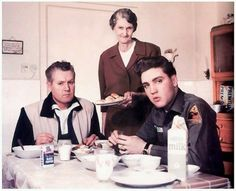 Elvis with his father, Vernon, and grandmother, Minnie Mae.