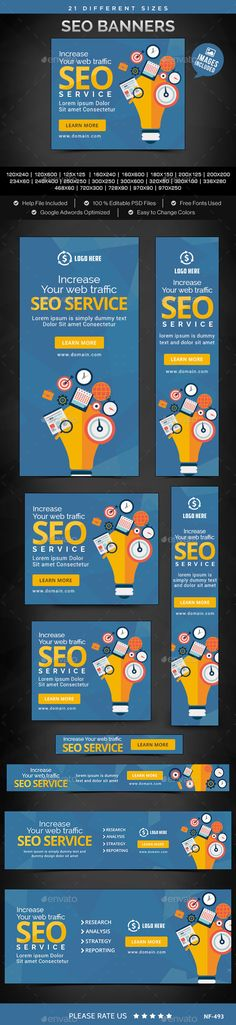 SEO Banners Template #webbanners #design Download: http://graphicriver.net/item/seo-banners/12046422?ref=ksioks