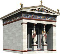 Delfi - Treausure (Thesaurus ) of te Sifnians 5th Century B.C. Δελφοί - Θησαυρός Σιφνίων 5ος αιώνας π.χ.  Ψηφιακή αναπαράσταση Ο θησαυρός των Σιφνίων ήταν ναΐσκος στους Δελφούς με σκοπό την φύλαξη πολύτιμων ιερών αναθημάτων. Κτίστηκε λίγο πριν το 525 π.Χ. και ήταν έργο ιωνικής τέχνης. Ήταν ναός ιωνικού ρυθμού.