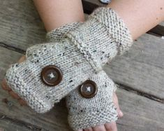 Knit Fingerless Gloves - Handmade Fingerless Gloves With Buttons - Wristwarmers - Arm Warmers - Women's Accessories - ON SALE Fingerless Gloves Knitted, Elite Socks, Winter Is Coming, Boho, Arm Warmers, Hand Knitting, Women's Accessories, Arms, Etsy