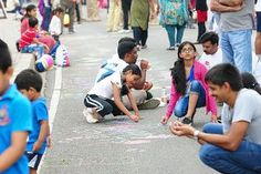Road art at Happy Streets Hyderabad !! Children having fun by exploring their art skills at happy streets #HappyStreets #Hyderabad #HappyStreetsHyderabad