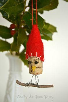 Whats Ur Home Story: Handmade Christmas Ornaments, Wine Cork Ornaments, Bird Ornaments