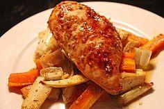 Senf - Honig - Hühnchen mit geröstetem Gemüse 1
