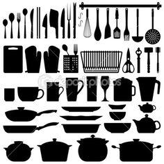 кухонный вектор силуэта посуды — Стоковая иллюстрация #4559690