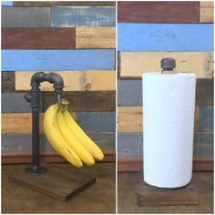 COMBO Banana Hanger & Paper Towel Holder, Banana Holder, Banana Rack, Industrial Decor, Kitchen Storage, Steampunk, Paper Towel Rack by TheCleverRaven on Etsy