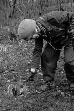 Fallschirmjaeger feeding squirrel