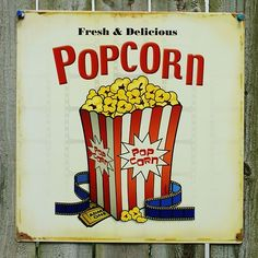 STORE VENDING SIGN LED LIGHTED DELICIOUS POPCORN SIGN