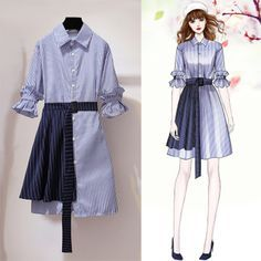 2019 Casual Fashion Trends For Women - Fashion Trends Ulzzang Fashion, Asian Fashion, Look Fashion, Girl Fashion, Fashion Dresses, Womens Fashion, Fashion Design Drawings, Fashion Sketches, Casual Fashion Trends