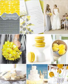 "Row 1: ""Blip"" and ""Yellow Rocks"" designer gift wrap by Egg Press, ""Fields"" Wedding Invitation – Elum Designs, Wedding Attire – Victor Sizemore Photography,  Row 2: Yellow Orchid Bouquet – Brides.com, Lemon Macarons – Paulette,  Pom Pom Cones – The Knot  Row 3: Flower Cookies – My Sweet and Saucy,Greek Mystique Wedding Cake – Brides.com, Mum Pomander Centerpiece – The Knot"