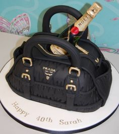 A Prada CAKE!! With a bottle of champagne! This should not make me so ridiculously excited!