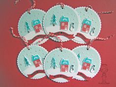 Papertrey Ink Christmas Cards--My Own Christmas Tags I made with Papertrey Ink's MakeIt Market Tinsel & Tags Kit.