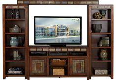Bartlett II Cherry 4 Pc Wall Unit-Home EntertainmentDark Wood