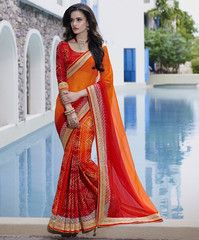 Orange & Red Color Wrinkle Crepe Special Occasion Sarees http://www.shopcost.in/saree