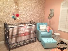 Wallpaper accent wall in coral nursery - #projectnursery