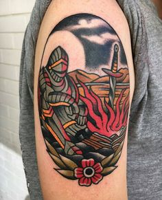 What does knight tattoo mean? We have knight tattoo ideas, designs, symbolism and we explain the meaning behind the tattoo. Body Art Tattoos, New Tattoos, Tattoo Drawings, Tattoos For Guys, Medieval Tattoo, Seele Tattoo, Traditional Tattoo Sketches, Storm Tattoo, Knight Tattoo