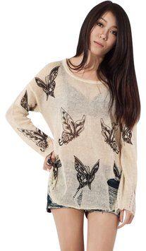 Oasap Semi Sheer Butterfly Print Distressed Sweater $22