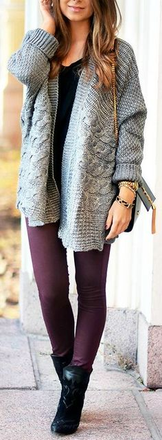Plum leggings with oversized sweater. Love it.
