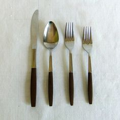 17 piece set of Vintage Interpur Flatware - Stainless & Composite Wood Handle, Scandinavian, Mid Century