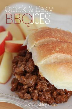 If you`re looking for a hearty meal that`s as quick as it is yummy, you HAVE to try this unique version of the sloppy joe. With only 4 ingredients, these BBQ Joes are packed with flavor without all th Bbq Sloppy Joe Recipe, Sloppy Joe Recipe Without Ketchup, Simple Sloppy Joe Recipe, Bbq Sandwich, Sandwiches, Sandwich Recipes, Ground Beef Recipes, Hamburger Recipes, Quick Meals