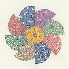 "Whirling Pinwheels - 9"" - free pattern from Connecting Threads - ""great way to showcase your 1930's fabrics."""