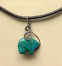 Natural Turquoise Hand Carved and Wire Wrapped Indian Bear Pendant Necklace by MAGICALUNIVERSE on Etsy