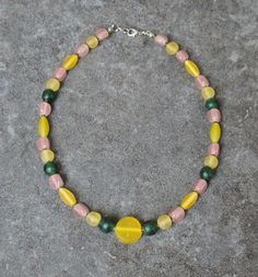 Cheerful Glass Beads Necklace, Ethnic Jewelry, Beaded Necklace, Yellow Pastel Pink Necklace, Bohemian Necklace, Ethnic Beads, Spring Jewelry
