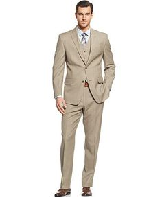 Michael Michael Kors Suit Tan Sharkskin Vested Peak Lapel