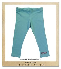 Sillybilly© clothing: 3/4 plain leggings aqua 1 Summer Collection, 9 And 10, Aqua, Leggings, Girls, Clothing, Pants, Fashion, Outfits