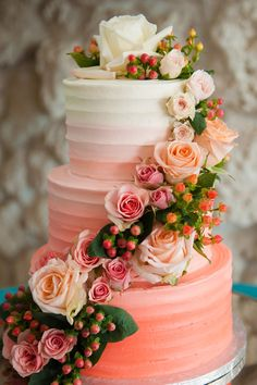pink ombre cake / photo by lisamarshallphotography.com