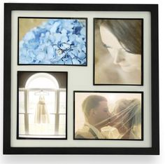 5 x 7 Collage Picture Frame for Wall Mount Use, Matted, Fits 4 Photos - Black
