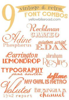 18 beautiful vintage & retro free fonts, paired into nine fabulous font combos!...