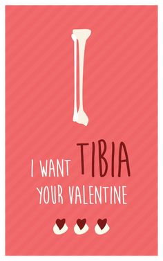 I Want TIBIA your Valentine. - Funny Medical Valentine Cards for nurses, medics, physiotherapists.