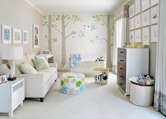 idee kinderzimmergestaltung farbe modern babyzimmer schablonen wald motive