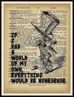 "Alice in Wonderland Mad Hatter Vintage Art Print on Ephemera Dictionary Book Page Background, 8 x 10"""