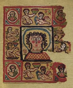 A COPTIC TEXTILE FRAGMENT CIRCA 6TH CENTURY A.D. -  Rectangular in form, centered by a haloed and rosy-cheeked female bust, wearing earrings and a necklace, with smaller busts within roundels in each corner panel, the side panels each with two Erotes, one holding a bird, and one holding a conical vessel, of linen and natural, red, blue, ochre, green and black wool 12¼ in. (31.7 cm.) long