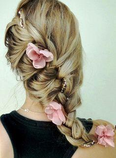 Bride's long loose diagonal French braid bridal hair ideas Toni Kami Wedding Hairstyles ♥ ❶ Pink flowers flower accents