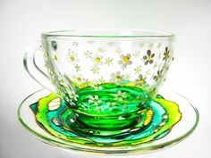 White Daisy Cup and Saucer  Hand Painted Teacup Set  by Vitraaze.  I could drink coffee from this on a spring morning!