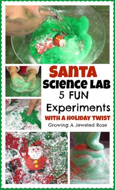 A Santa Science Lab with 5 FUN EXPERIMENTS bursting with holiday cheer & learning sensory exploration!